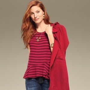 Cabi sweet talk red striped peplum tee style#3631